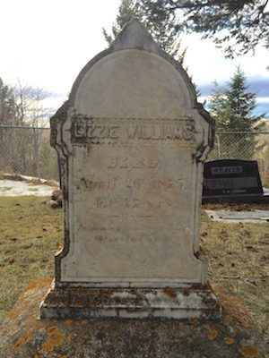 Lizzie Williams grave in Sunset Hills Cemetery